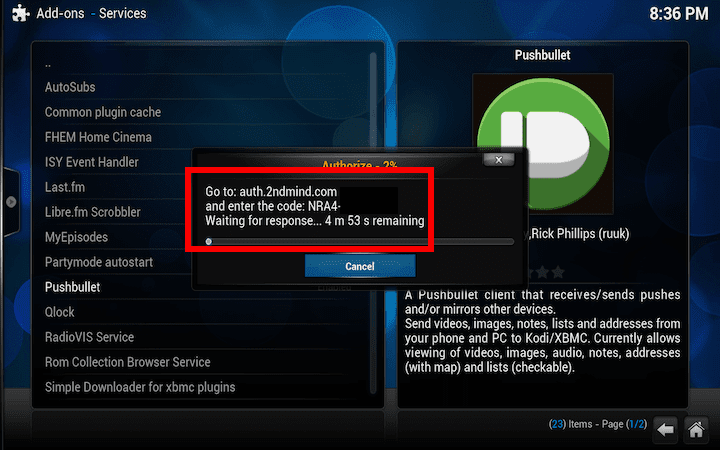 how to open browser while in kodi