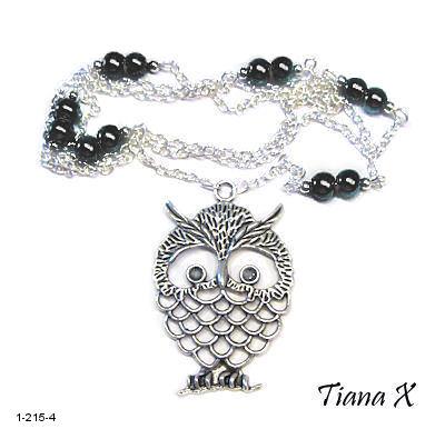 Tiana X - Kaulakoru, pöllö, Huuhkaja, musta