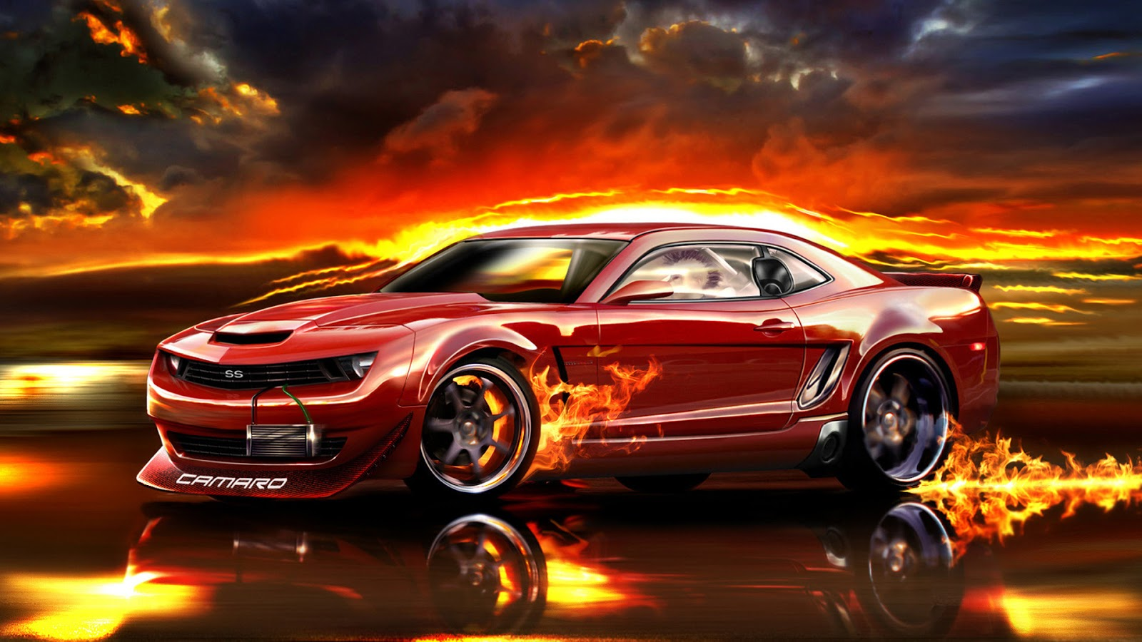 Chevrolet Camaro with Fire