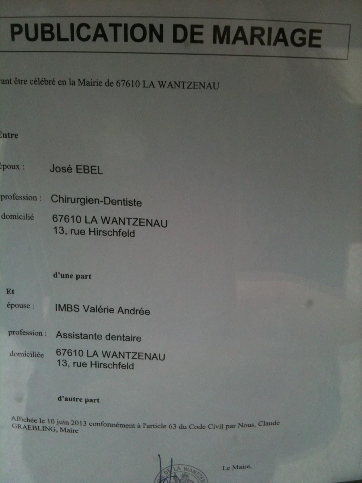 Mariage val jos - Publication banc mariage ...