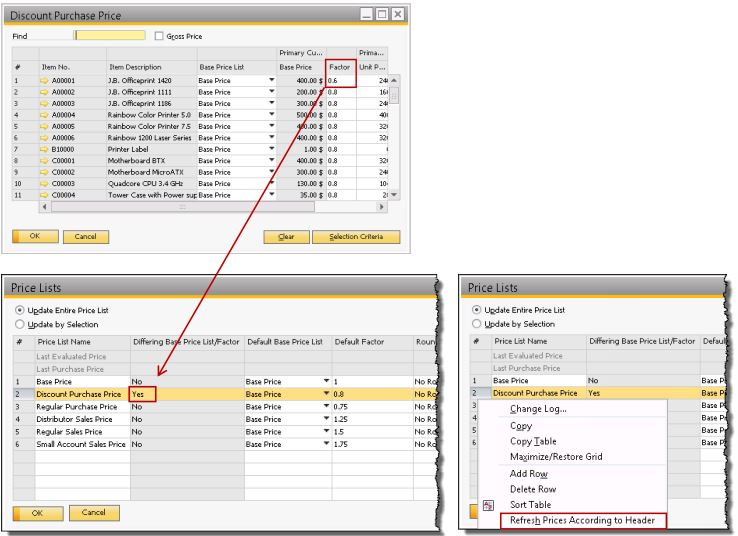 how to create a price list in sap
