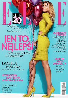 Magazine Cover : Daniela Pestova Magazine Photoshoot Pics on Elle Magazine Czech February 2014 Issue