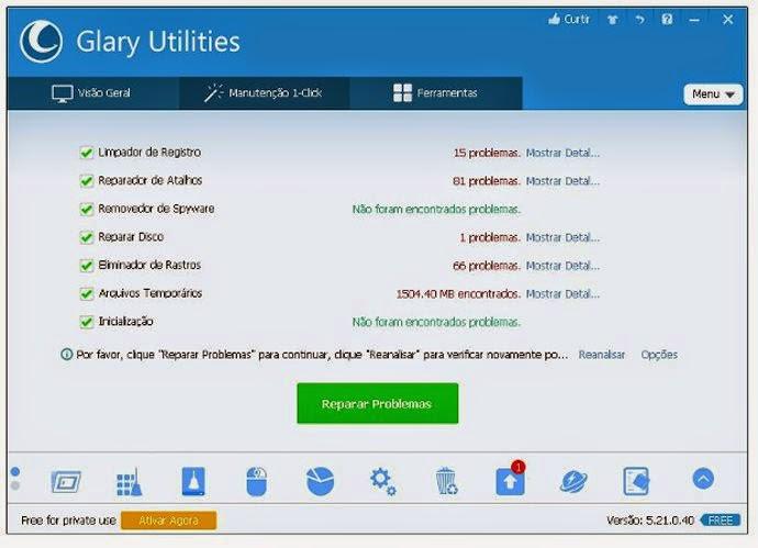O opção M do programa Glary Utilities é para os os que buscam a simplicidade na manutenção do computador