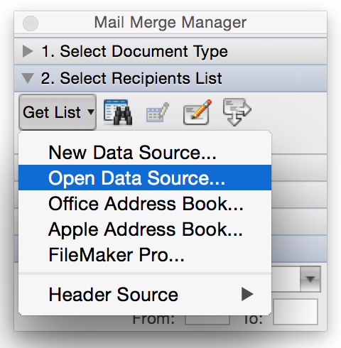 Word Mail Merge - Select Data Source