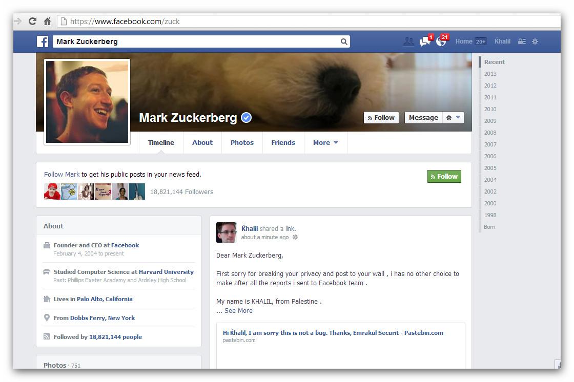 Facebook hacker schreibt an zuckerbergs pinnwand for Facebook spiegel