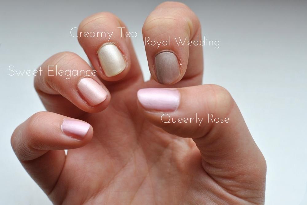p2 satin supreme 060 Queenly Rose 020 Sweet Elegance 010 Creamy Tea 030 Royal Wedding