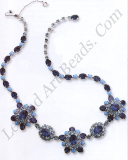 """A very pretty light floral necklace signed by """"Kramer of New York"""". Typical of the style of the day, faux sapphires and turquoise stones give that essential 19505 colour combination. The floral motif is typical of Dior's """"New Look"""" and indeed this manufacturer produced jewelry for Dior in the United States. Late 1950s."""
