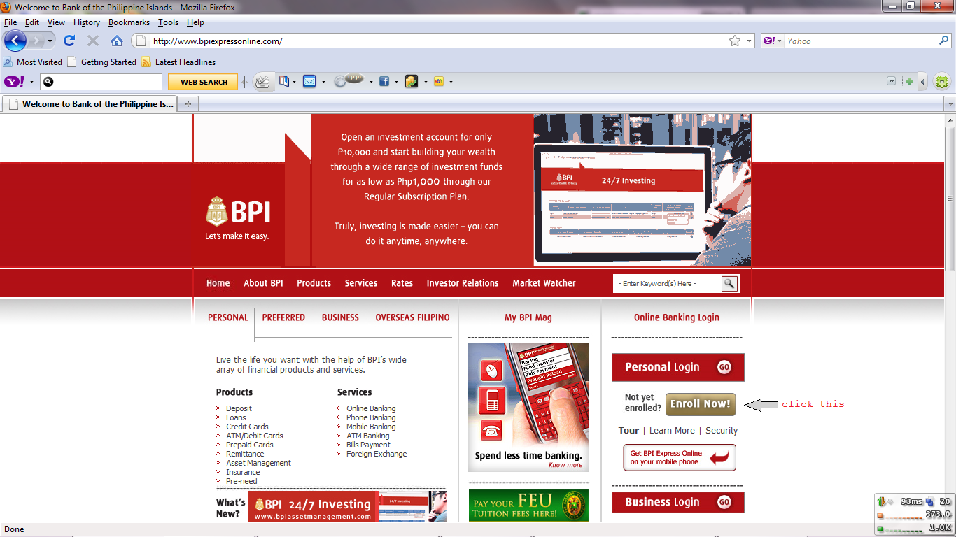 BPI Express line account How to enroll online and Login