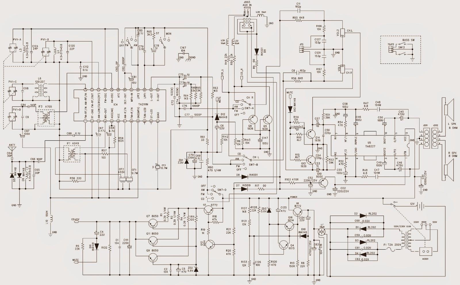 philips az1134  u2013 mp3  u2013 cd sound machine   schematic  circuit diagram