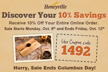 10% Off Every Set Of 6 #10 Cans At Honeyville Food Products. Save big on Honeyville Food Products Sales! 10% off every set of 6 #10 Cans. You spoke, we listened! When you add any combination of 6 #10 cans to your cart, you'll instantly receive 10% off those 6 items. View your cart to see the Build-A-Case discount applied to the subtotal.