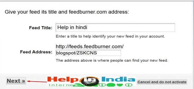 feed title and feedburner address