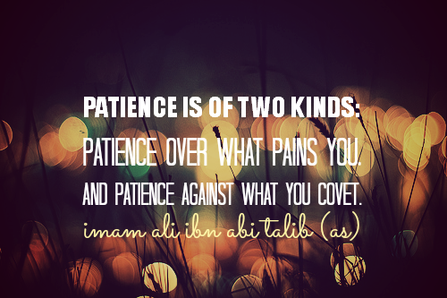 PATIENCE IS OF TWO KINDS: PATIENCE OVER WHAT PAINS YOU. AND PATIENCE AGAINST WHAT YOU COVET.