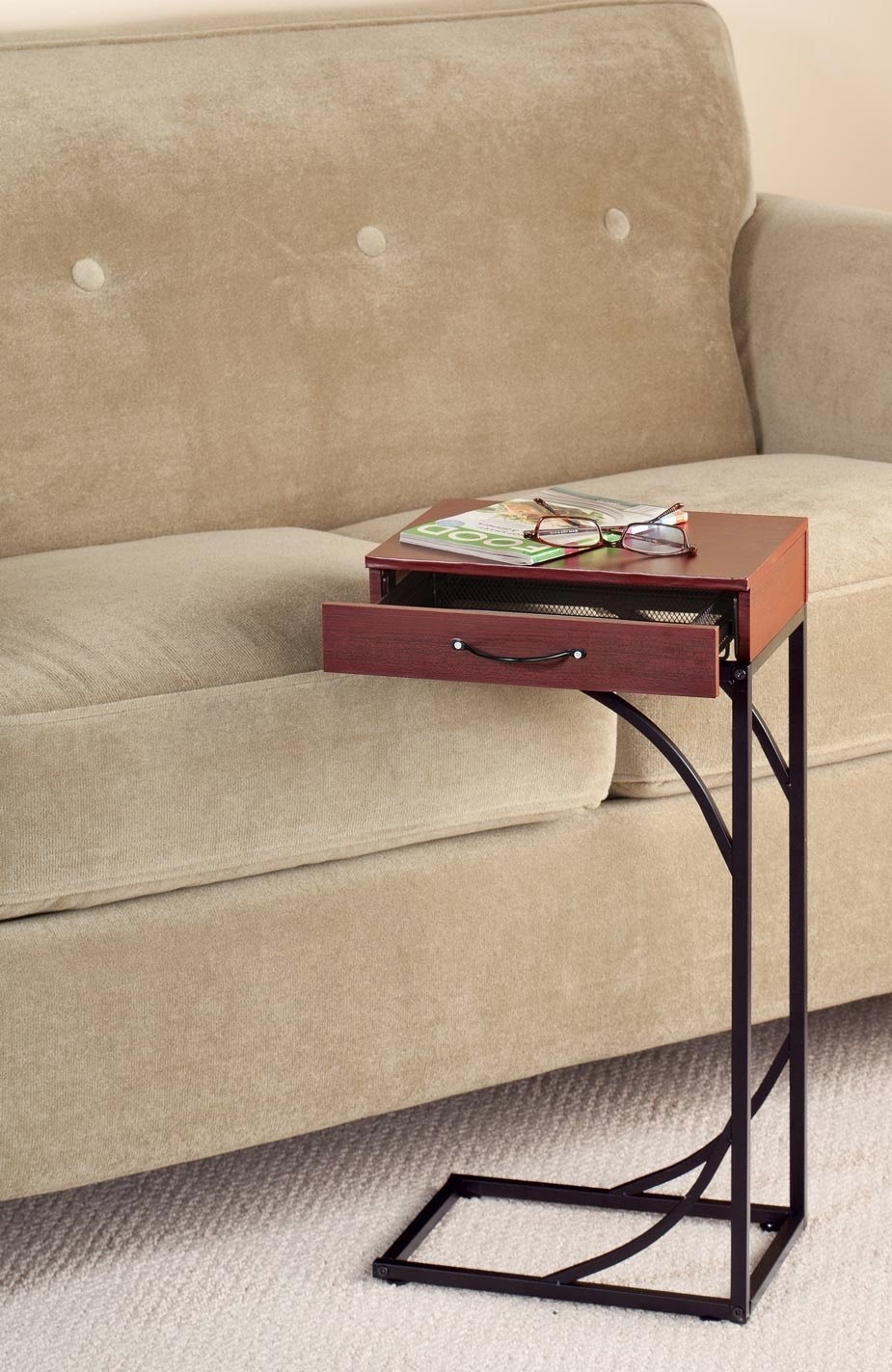 Sliding Under Couch Side Table With Storage Drawer