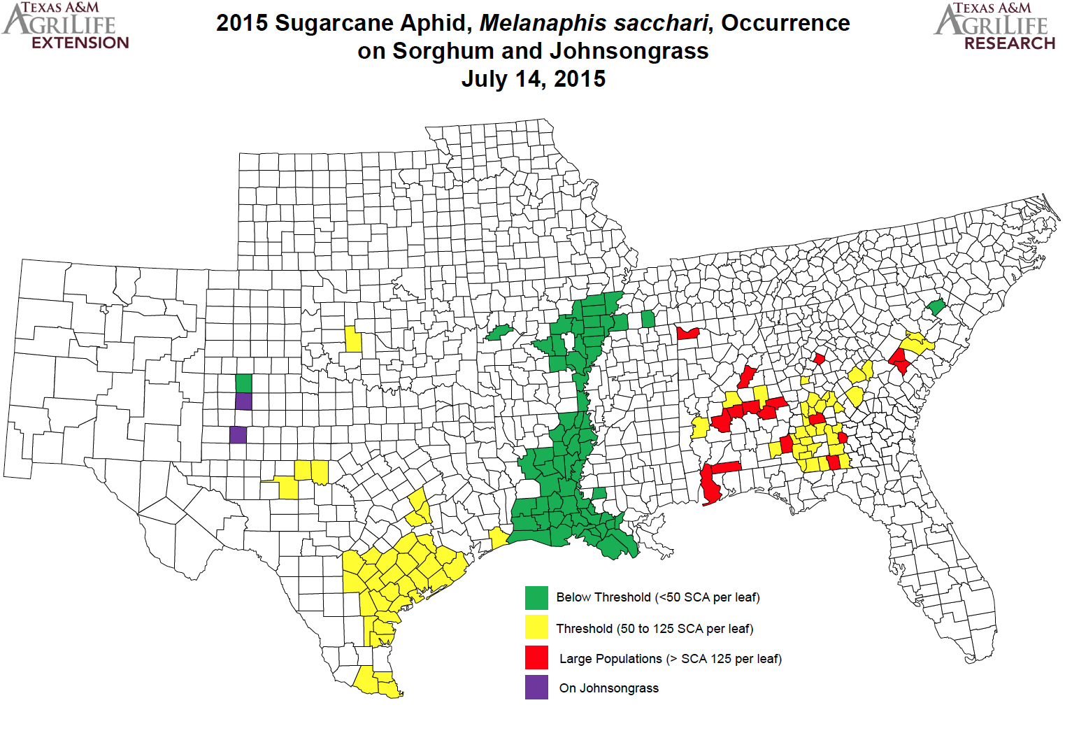 the 2015 map shows counties that are under treatment threshold at threshold and over threshold it also shows counties where aphids have been found on