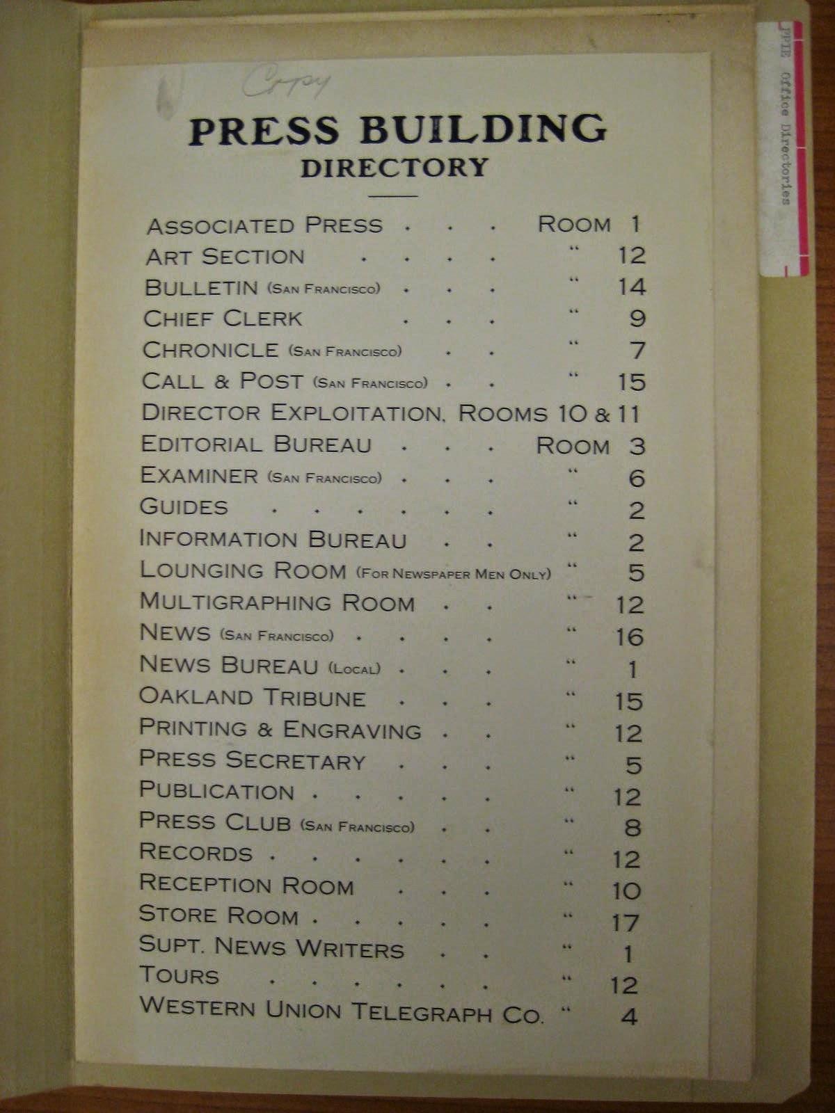 PPIE Press building directory ephemera, San Francisco Public Library