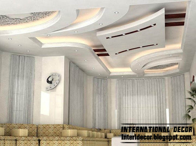 Modern false ceiling designs for living room interior designs for Suspended ceiling designs living room