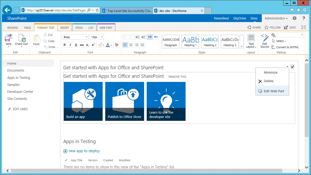 To add an metro style item to get started with menu in sharepoint 2013