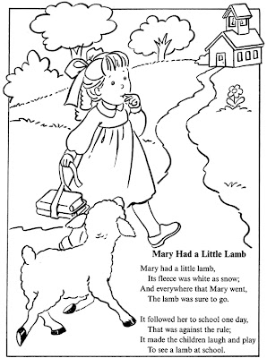 Mary Had a Little Lamb Coloring Sheet