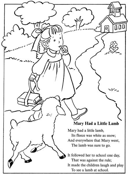 Mary Had A Little Lamb Nursery Rhyme Coloring Page