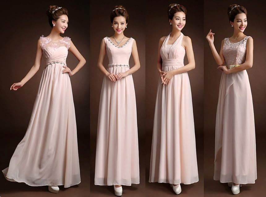 Four-Design Sweet Soft Pink Bridesmaids Dress