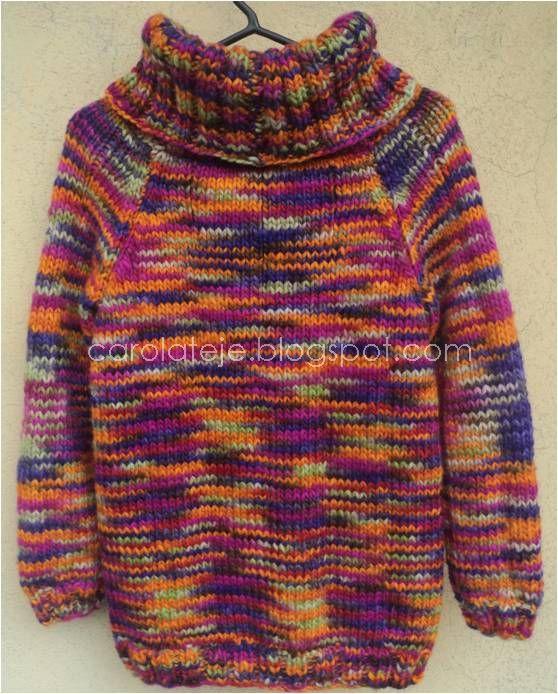 71 sueter cuello alto lana multicolor carolateje - Lana gruesa para tejer ...