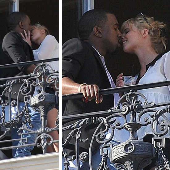 Kanye West Tongues Down Mystery White Girl in France! [PHOTOS]