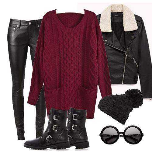 Gorgeous Burgundy Sweater with Black Leather Trousers,Jacket, Boots and Accessories, Street Style