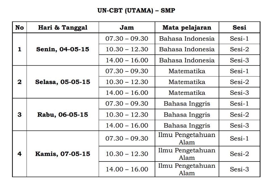 Jadwal UN-CBT SMP 2015