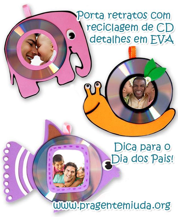 porta retrato feito com CDs para dia dos pais
