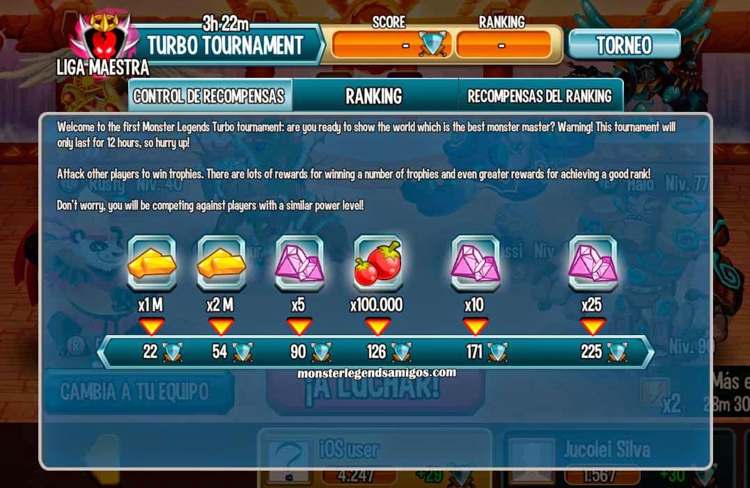 imagen de los premios del torneo temporal turbo de monster legends