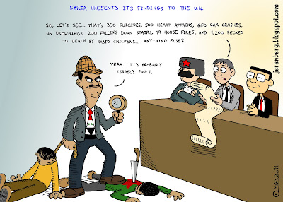 syria china russia united nations human rights council knife in back rope around neck bashar assad sherlock holmes cap holding magnifying glass in hand