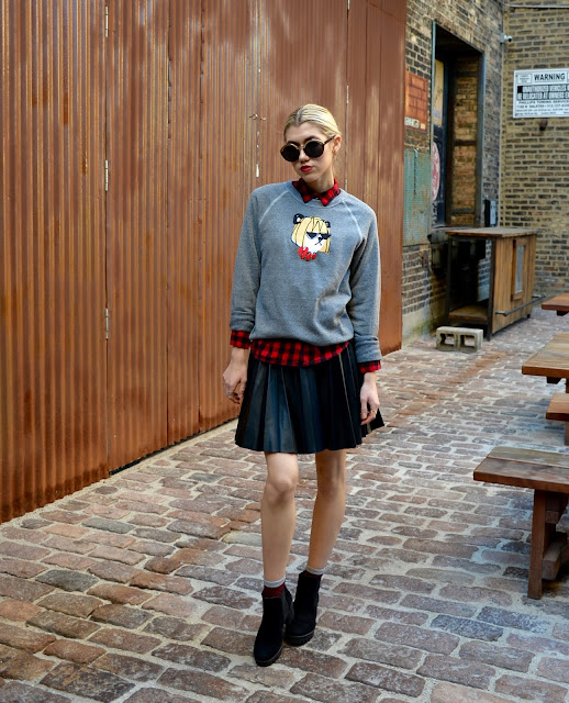 donald robertson, bow and drape, leahter skirt, leather, sweatshirt, plaid, fall, ootd, style blogger