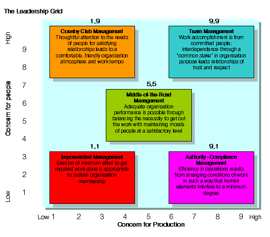 blake and mouton managerial grid college essay At conception, the managerial grid model was composed of five different leadership styles these styles were a relation between a manager concern for people, concern for production and his motivation.