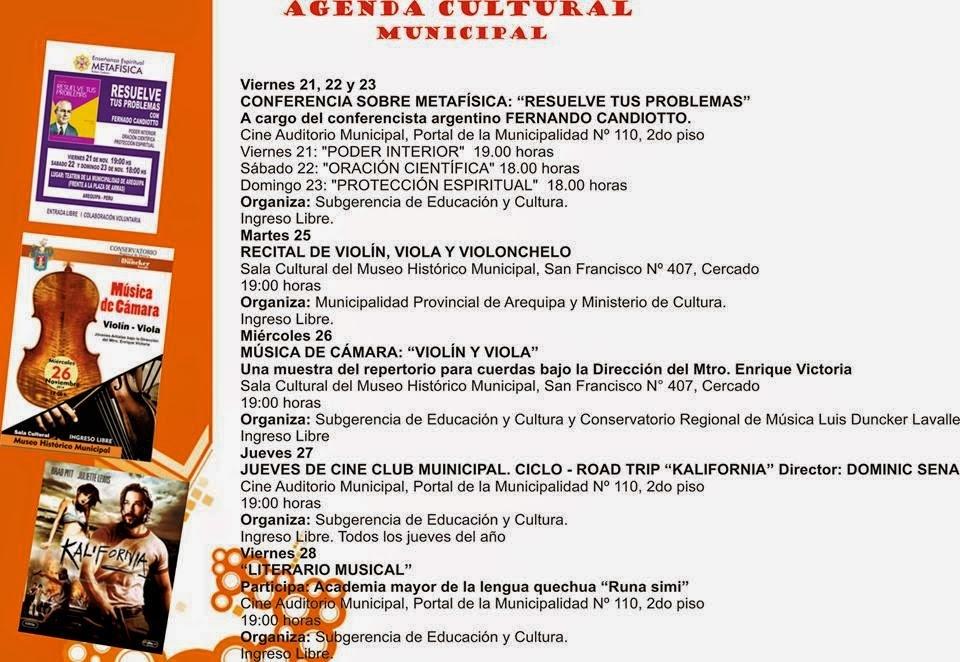 Agenda Cultural Municipal Arequipa