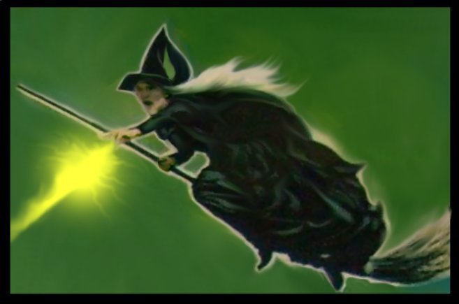Wicked Witch Of The West Flying On Her Broom Filmic Light - Snow Wh...