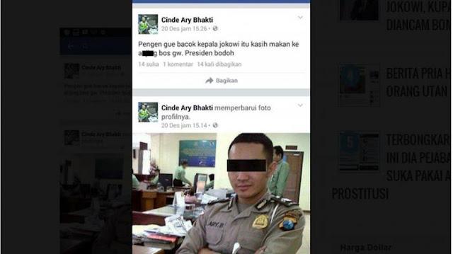 Pria Berseragam Polisi Ini, Nyatakan Ingin Bacok Kepala Presiden RI Jokowi di Akun Facebooknya
