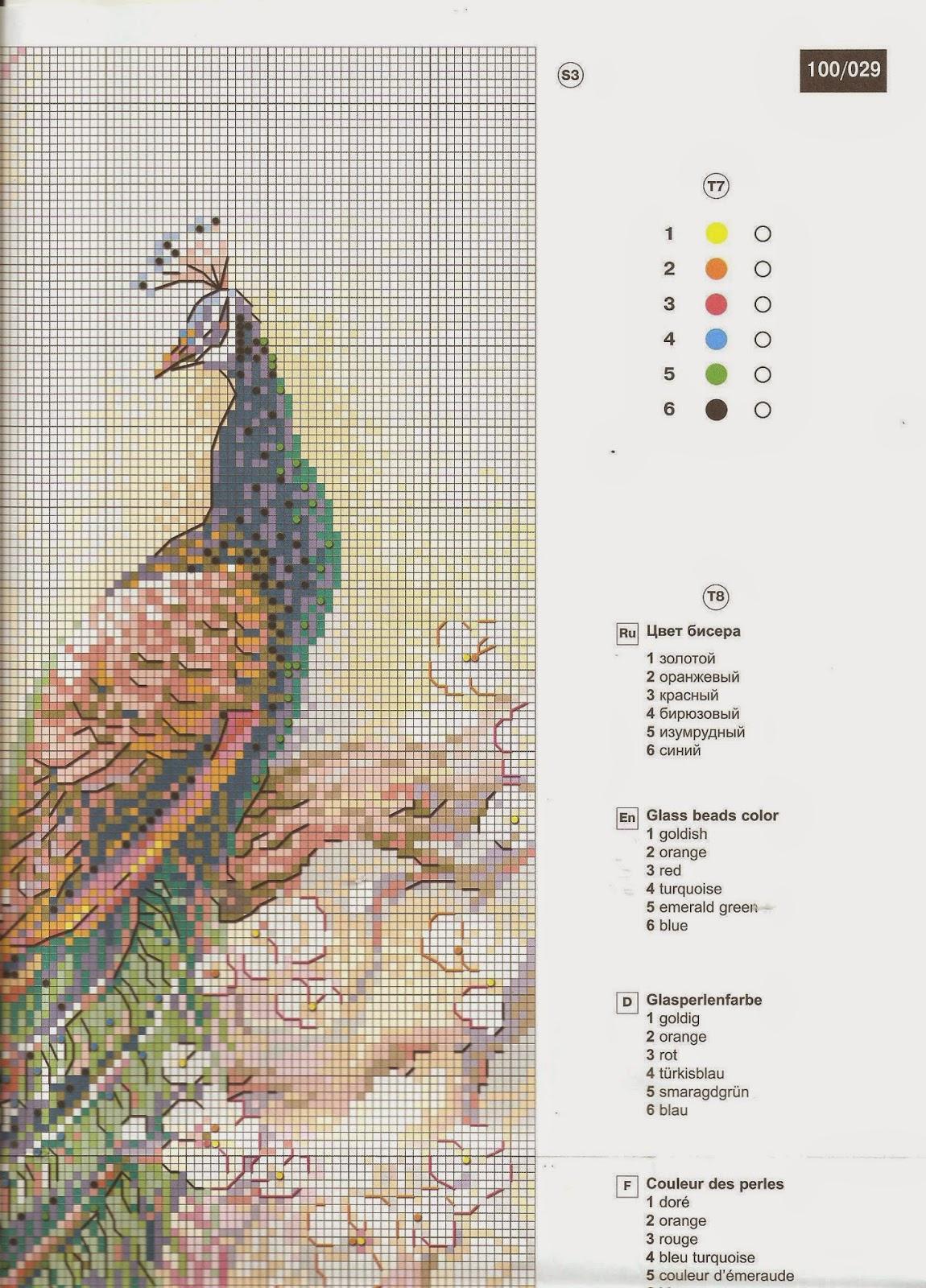 Вышивка павлин риолис