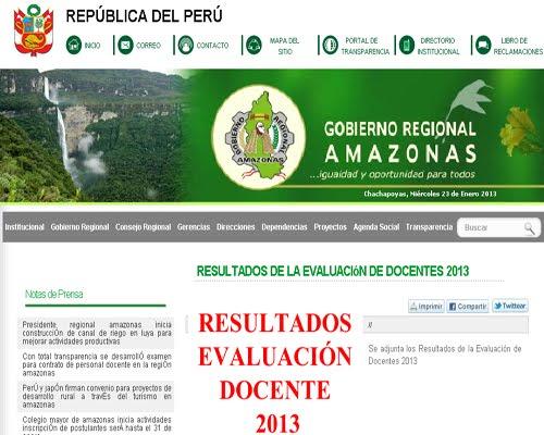 DRE AMAZONAS Resultados Contrato Docente 2013, 20 de Enero Amazonas en ...