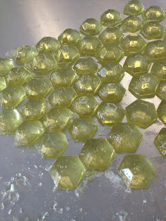Sample pieces of Pistachio Marshmallow flavored hard candy