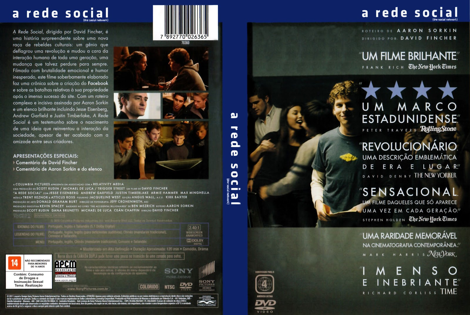 Capa DVD A Rede Social