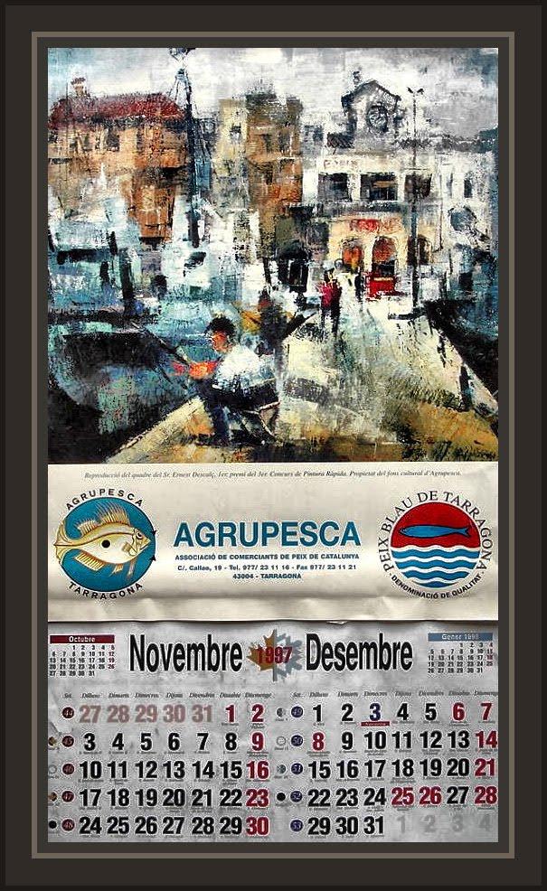TARRAGONA-PUERTO-SERRALLO-CALENDARIOS-ARTE-PINTURA-ERNEST DESCALS