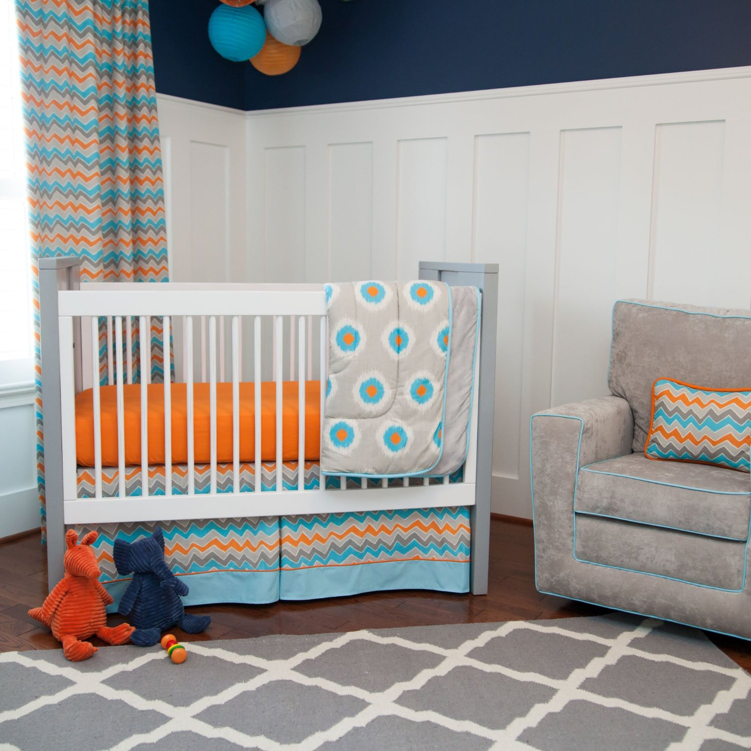 total fab blue and orange nursery crib sets  bedding for baby  - pc luxury mini crib bedding orange and blue