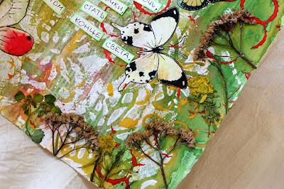 арт-бук, бабочки, самодельные штампы, сухоцветы