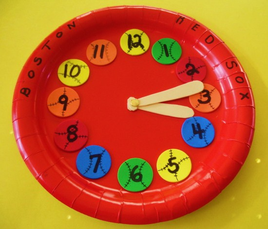 Make a Baseball Paper Plate Clock Craft & Learning Ideas - Grades K-8: Make a Baseball Paper Plate Clock Craft