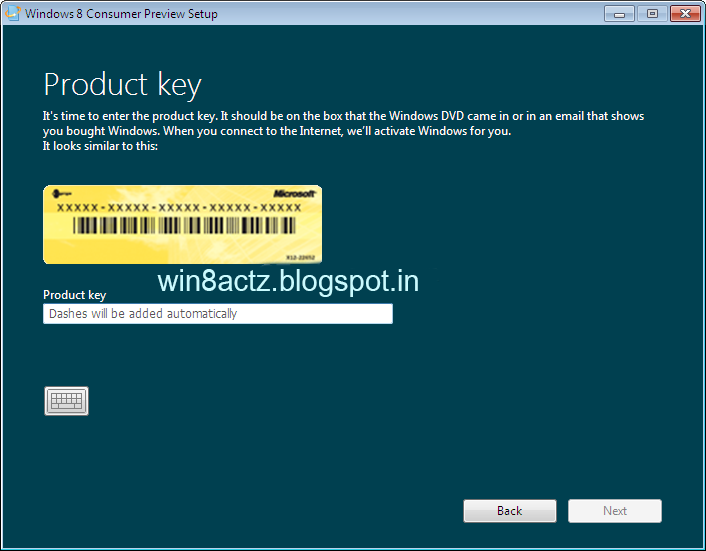 Windows 8 consumer preview product key windows 8 key 39 s for Window 8 1 product key