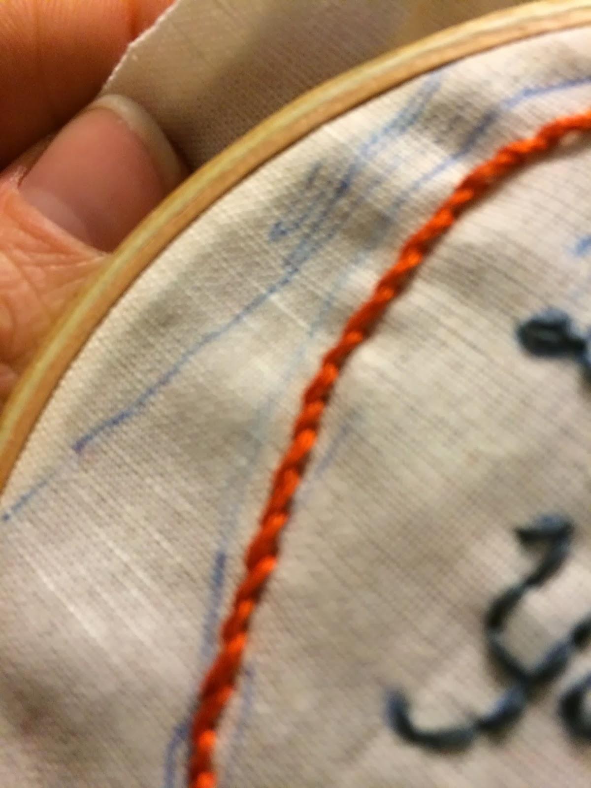 Doeblerghini Bunch:  Dad's Tie Patch - Chain Stitch Row