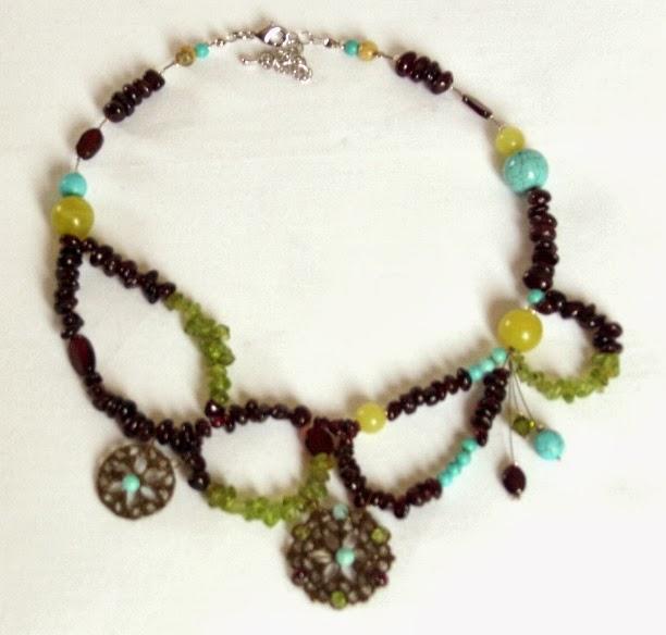 Grenat, Turquoise et Rosaces dentelles