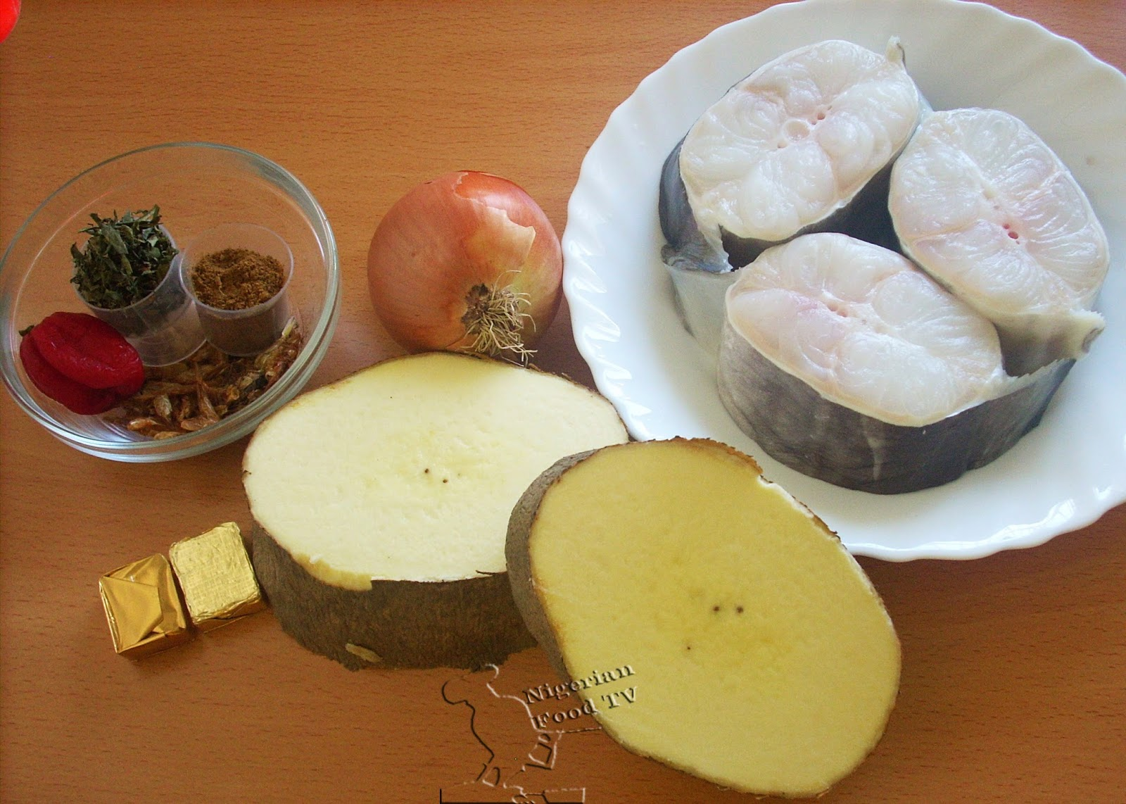 Nigerian Yam and Fresh Fish Pepper Soup Ingredients