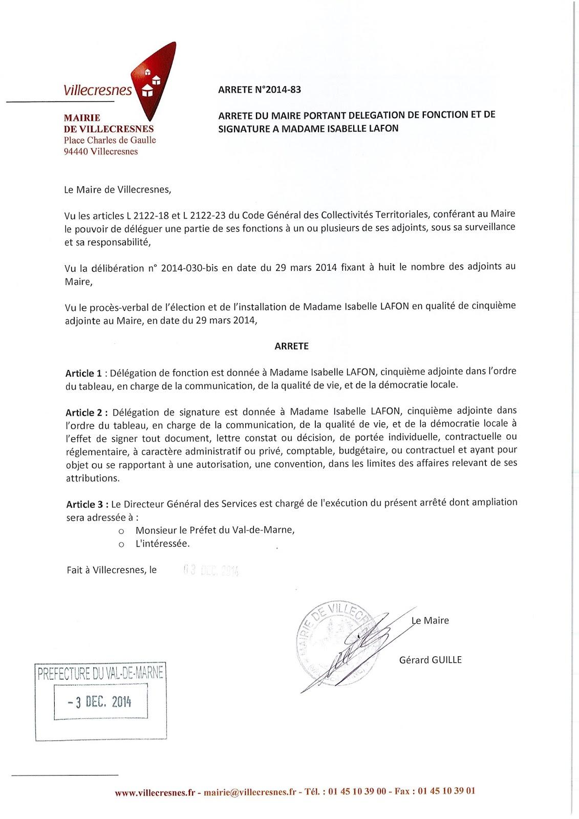 2014-083 Délégation de fonction et de signature à Madame Isabelle Lafon