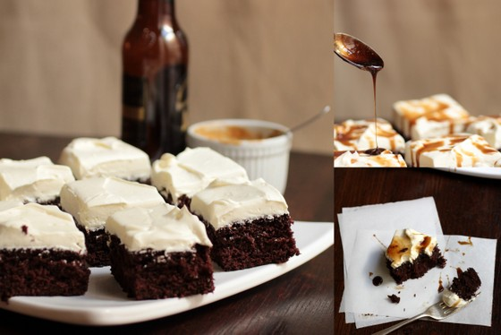 Creamy Fudgy Devil´s Food Stout Squares | Vintage Kitchen Notes